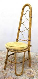 Tall Triangular Back Bamboo Rattan Side Chair. Looped l