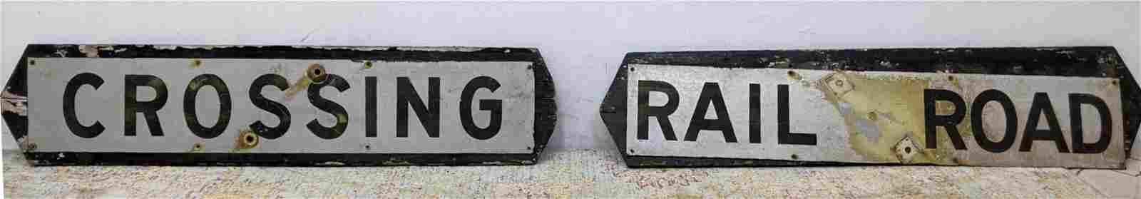 2pc Vintage Crossing and Rail Road Metal Signs.