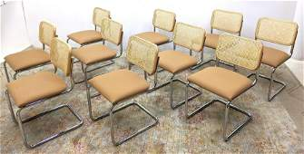 Set 10 MARCEL BREUER Dining Chairs.  KNOLL STUDIO