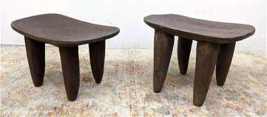 2pc West African Senufo Primitive Wood Stools Tables. V