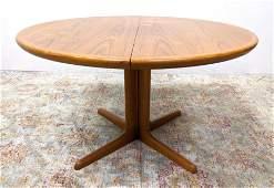 SKOVBY Danish Modern Teak Round Dining Table. Pedestal