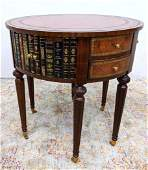 MAITLAND SMITH Embossed Leather Top Table. Leather Boun