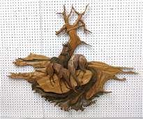 Wood Wall Sculpture with Natural Copper Accents. Mixed
