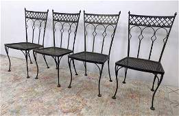 Set 4 SALTERINI Iron Dining Chairs. Backs with arched d