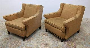 Pr Upholstered Lounge Chairs. Extended upholstered arms
