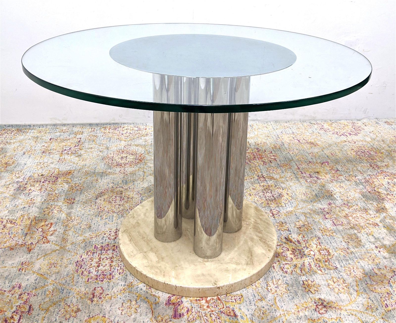 Pace Style Round Dining Table. Glass top over Chrome an
