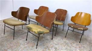 5pcs IB KOFOD LARSEN Penguin Chairs. Iron and wood.