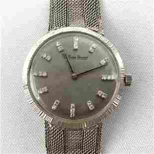 LUCIEN PICARD 14K WG Gold Mens Wrist Watch.  Face set w
