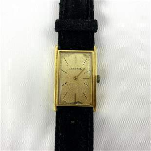JUVENIA 14K GOLD Mens Wrist Watch. Leather Band Watch.