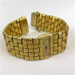 SARCAR 18K Gold Bracelet Wrist Watch. Textured woven st