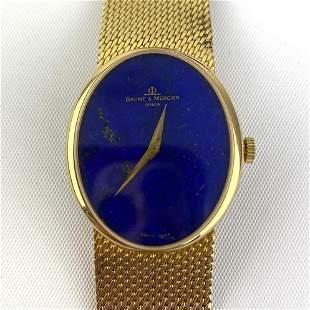 BAUME MERCIER 18K Gold Lapis Lazuli Wrist Watch.  45.3d