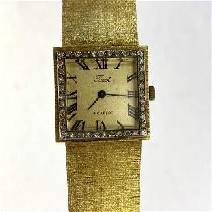 TISSOT 14K Gold and Diamond Wrist Watch  34.2dwt. 14K Y