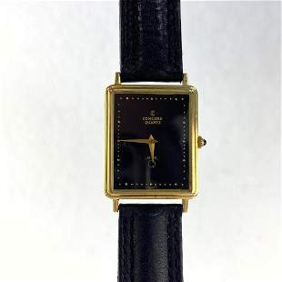 CONCORD 14K Gold Wrist Watch. Tank style. Leather band.