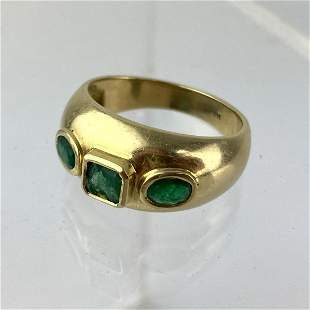 14K gold emerald Man's Ring   Three stones.  Size 11.