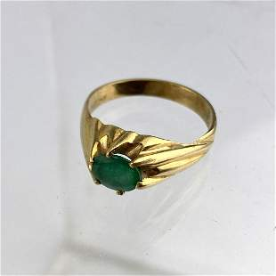 14K Gold Emerald Man's Ring.  Single stone. Size 9.5.