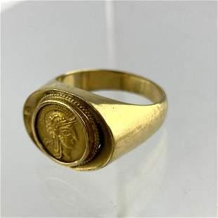 18K Gold Man's Ring with Roman Portrait Medallion.  Siz