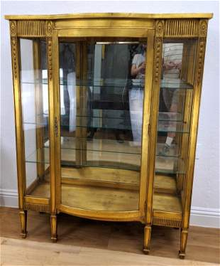 Vintage Gilt Painted Bowed Door China Cabinet. Carved b