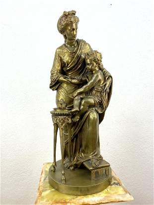 SAUVAGEAU (Louis) Bronze Statue of Woman and Child. Hig