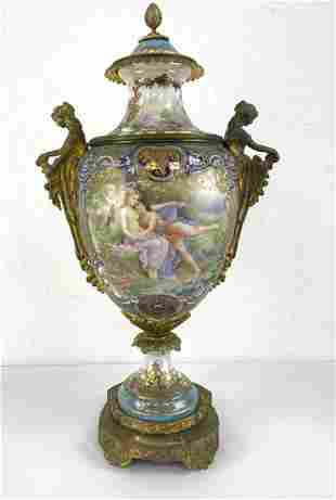 SEVRES French Painted Porcelain Lidded Urn. Signed A. C