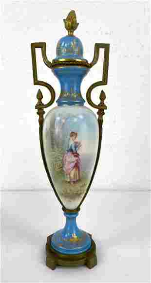 SEVRES France Painted Urn. Hand painted by A BLON. Gilt