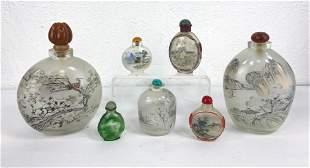 7pc Asian Glass bottles. snuff bottles. Reverse Painted