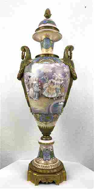 4ft tall SEVRES France Palace Urn Vase.  Fine hand pain