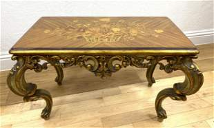 Inlaid French Style Coffee Cocktail Table. Flower baske