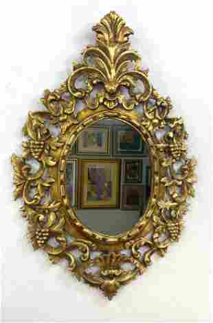 Large Decorative Carved Wood Wall Mirror. Oval mirror w