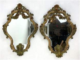 Pair Fancy Carved Shield Shaped Mirrors.  Polychrome pa