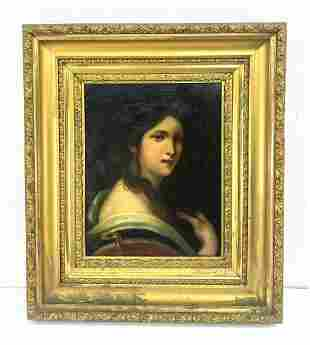 Antique Portrait Painting of Woman with White Collar. D