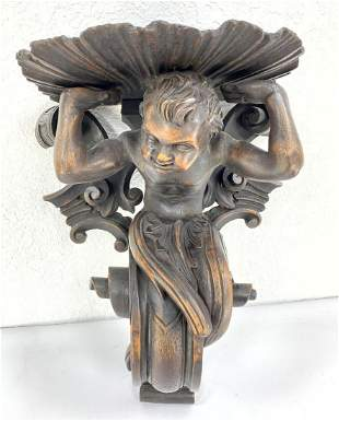 Figural Carved Wood Wall Sconce.  Deep carving.