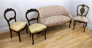 4pc Upholstered Seating. Pr carved Victorian balloon ba