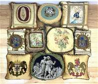Collection of 10 vintage throw pillows. Some with needl