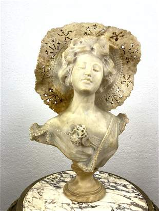 Large Alabaster Bust Sculpture.  Woman with lace hat.