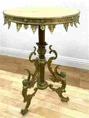 Gilt Bronze and Onyx Tabouret Pedestal Table. winged fe