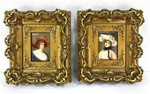 Pair of KPM lady Porcelain plaques in gold guilt frames