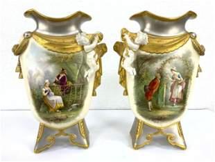 Pair Old Paris Porcelain Vases. Hand Painted scenes. Si