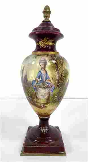 French SEVRES style Porcelain Vase. Hand Painted. Bronz