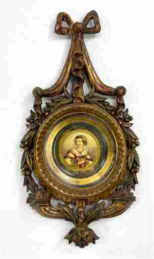 Hand Painted Portrait Plate in Gilt Wood Frame. Restore