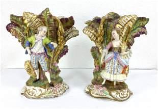 Pair Old Paris Porcelain Figural Mantle Vases