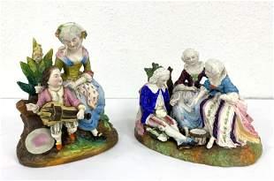 2pcs Antique Painted Porcelains Figural Groupings. One