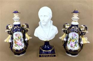 3pcs Antique Painted Porcelains. 2 Stoppered Bottles an