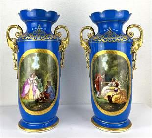 Pair Old Paris Porcelain Mantle Vases. Hand Painted Cou