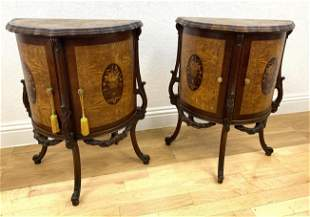 Pair French Style Side Table Cabinets with Floral Inlay
