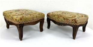 Pair Needlepoint Foot Stool w/ French Carved Wood Bases