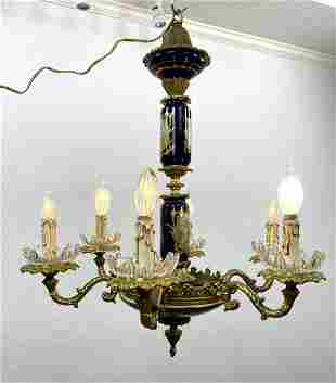 SEVRES style Hand Painted Porcelain Chandelier. Cherub