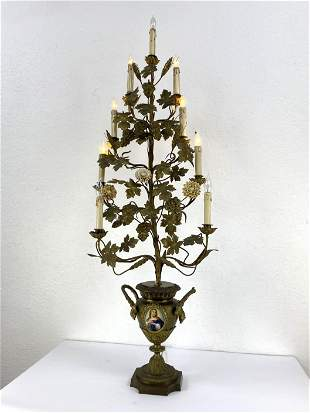 Tall Gilt Metal Candelabra. Floral design in urn with H