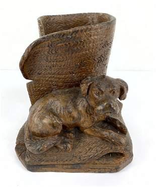Black Forest Carved Wood Dog Sculpture Vase.