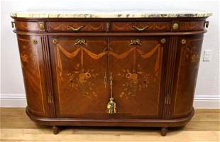 French Inlaid Marquetry Marble Top Sideboard Credenza.