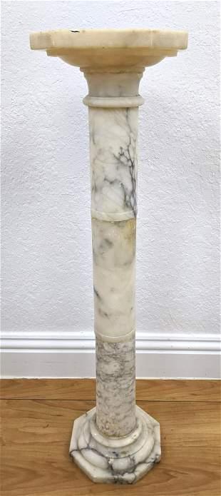 Alabaster Column Pedestal Display Stand. Octagonal base